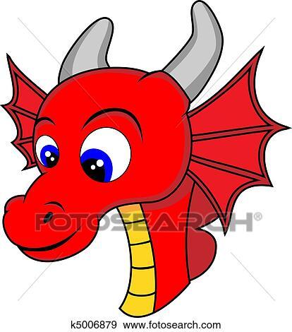 clip art of cute dragon head k5006879 search clipart illustration rh fotosearch com Fire-Breathing Dragon Clip Art japanese dragon head clipart