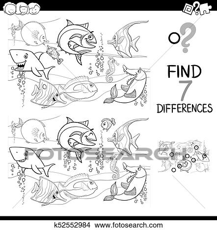 Clipart - diferencias, con, pez, caracteres, color, libro k52552984 ...