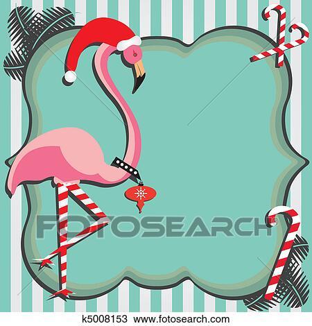 Christmas Card Clip Art.Flamingo Christmas Card Clipart