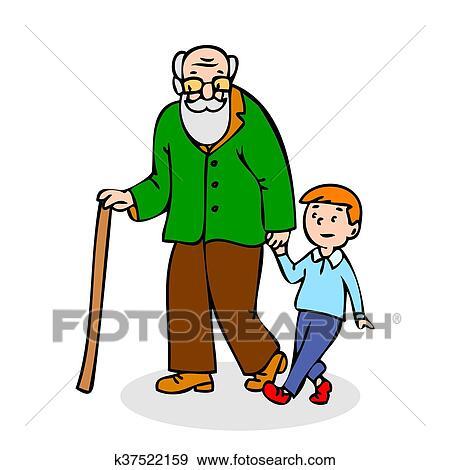 Grand-père, à, grandson., rigolote, vieil homme, à, canne marche, et, à,  boy., coloré, dessin animé, vecteur, illustration, blanc, fond f87ed4587a74