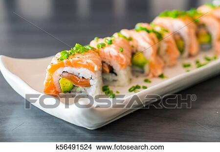 Grilled Salmon Sushi Roll Picture K56491524 Fotosearch