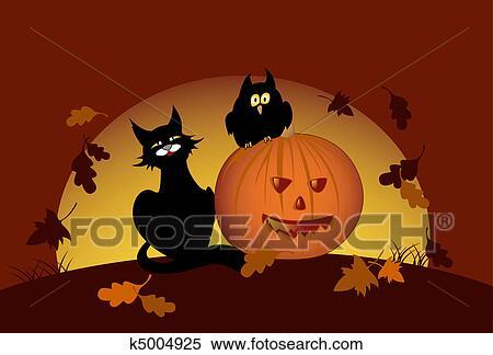 Pompoen En Halloween.Halloween Pompoen En Zwarte Kat Clipart