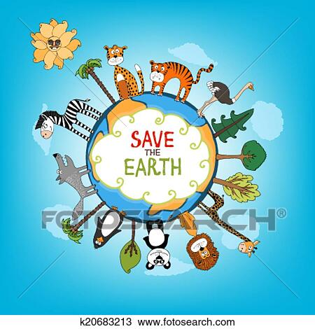 Clipart Of Save The Earth Concept Illustration K20683213 Search