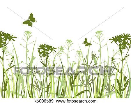 Sfondo Verde Con Fiori E Farfalle Clip Art K5006589 Fotosearch