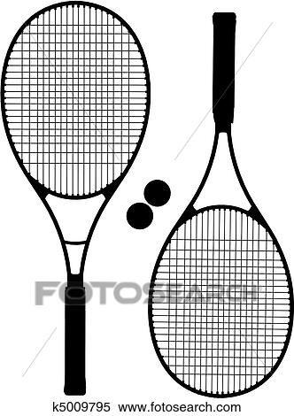 Clipart Of Tennis Racket Silhouettes K5009795 Search Clip Art