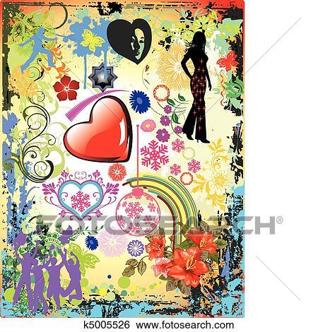 Clip Art Vettore Collage Disegno K5005526 Cerca Clipart