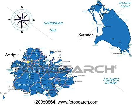 Clipart of Antigua and Barbuda map k20950864 - Search Clip Art ...