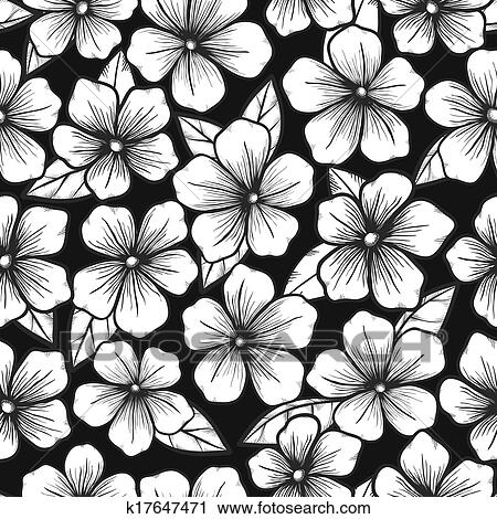 Bonito Preto Branco Seamless Fundo Com Gráfico Esboço De Flores Clipart