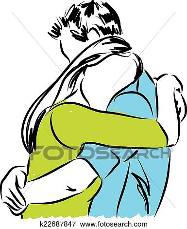 clip art of couple hugging each other illustrat k22687847 search rh fotosearch com clipart hugging arms friends hugging clipart