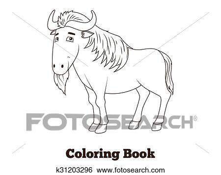 Clip Art - libro colorear, ñu, africano, sabana, animal k31203296 ...