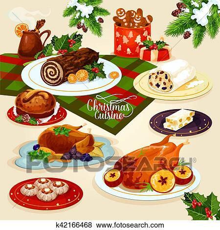 Clip Art - natale, cucina, cena, per, festivo, menu, disegno ...