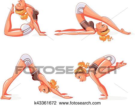yoga pose funny cartoon character clipart  k43361672