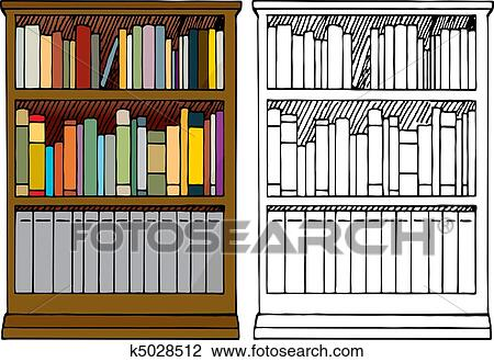 Clipart Of A Full Bookshelf K5028512