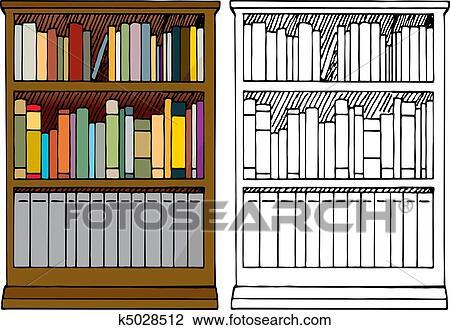 Bücherregal clipart schwarz weiß  Clipart - a, voll, bücherregal k5028512 - Suche Clip Art ...