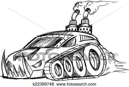 Blind voiture r servoir vecteur croquis art clipart k22399748 fotosearch - Croquis voiture ...