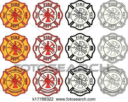 Clipart Of Firefighter Cross Symbol K17788322 Search Clip Art