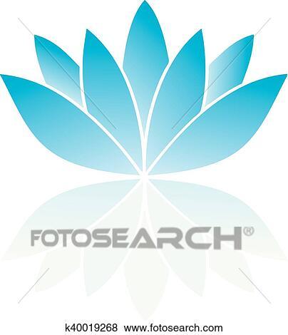 Clip Art Of Lotus Flower K40019268 Search Clipart Illustration