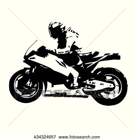 Clip Art Of Motorcycle Racing Silhouette Motorbike Vector