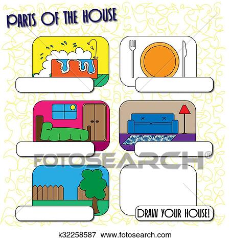 Parts of the house for children Stock Illustration ...