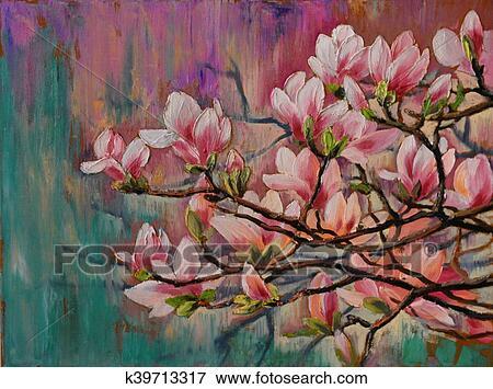 Banque D Illustrations Peinture Huile Sakura Branche Sur
