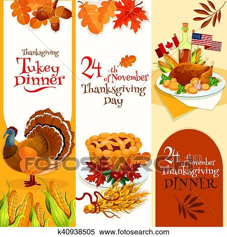 Thanksgiving Day Dinner Invitation Banners Clipart
