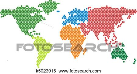 Clipart of Vector world map with colored conti k5023915 - Search ...
