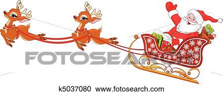 サンタクロース 中に そりで滑べりなさい クリップアート切り張り