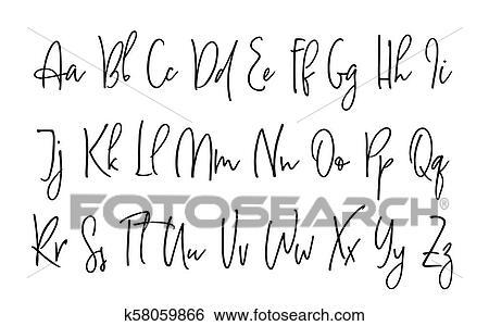 Ballpen Lettering Vector Alphabet Clip Art