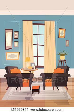 Gemuetlicher, wohnzimmer, inneneinrichtung, mit, moderne möbel, sessel,  bei, klein, tabel, und, fenster Clipart