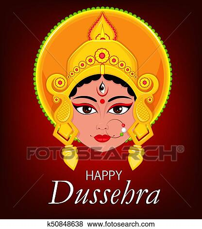 Clip art of happy dussehra greeting card maa durga face for hindu clip art happy dussehra greeting card maa durga face for hindu festival m4hsunfo