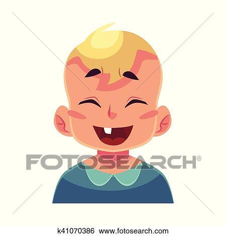 Petit Garçon Figure Rire Expression Faciale Clipart