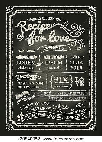 clipart of recipe for love chalkboard wedding invitation card