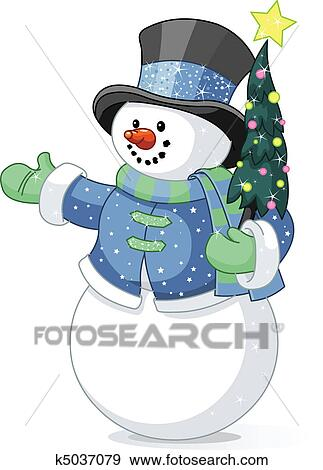Clip Art Schneemann Mit Weihnachtsbaum K5037079 Suche Clipart