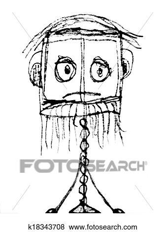 Stock Illustration Stange Traurig Karikatur K18343708 Suche