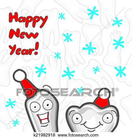 Clip Art of Teeth. Happy New Year greeting card k21982918 - Search ...