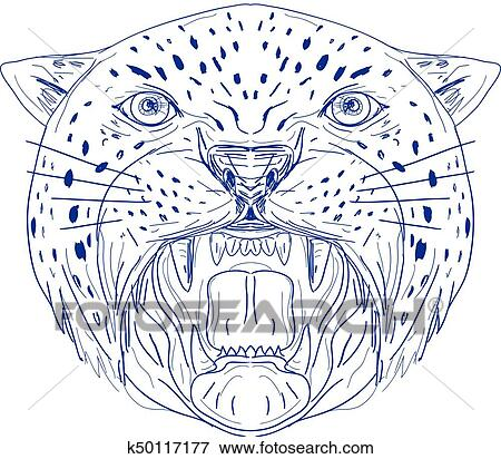 Clip Art - angry-jaguar-head-frnt-dwg k50117177 - Buscar Clip Art ...