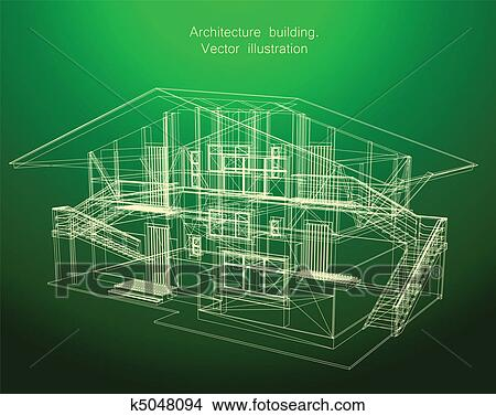 Clipart of architecture blueprint of a green house k5048094 search clipart architecture blueprint of a green house fotosearch search clip art illustration malvernweather Images