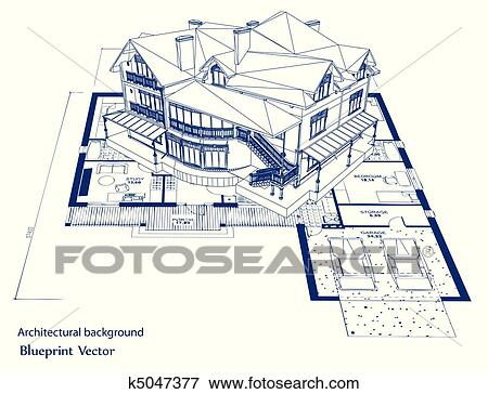 Clip art of architecture blueprint of a house vector k5047377 architecture blueprint of a house over a white background malvernweather Image collections