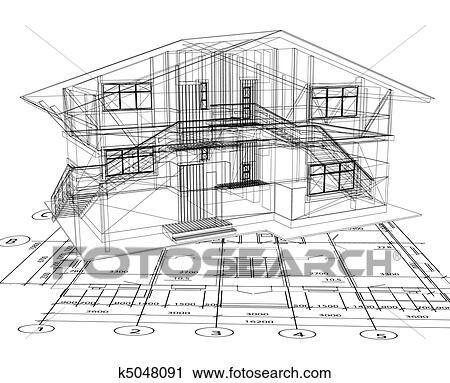 Clipart of architecture blueprint of a house vector k5048091 architecture blueprint of a house over a white background malvernweather Gallery