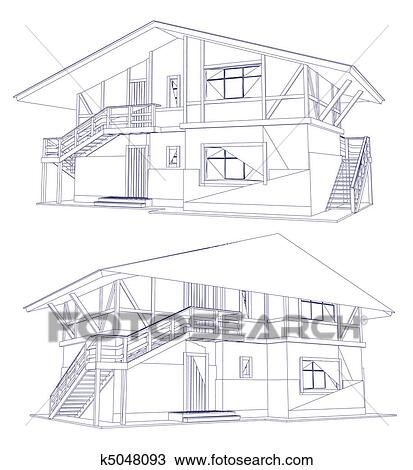 Clipart of architecture blueprint of a two house vector k5048093 architecture blueprint of a house over a white background malvernweather Image collections