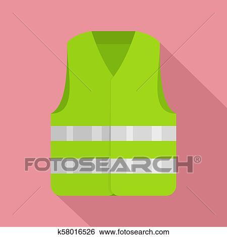 Driver Reflective Vest Icon Flat Style Stock Illustration