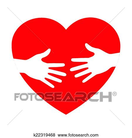 clip art of heart icon with caring hands k22319468 search clipart