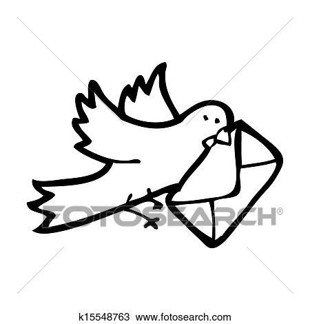 Pigeon voyageur dessin anim dessin k15548763 fotosearch - Dessin pigeon ...