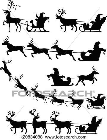 Clip Art Weihnachtsmann Schlitten Satz K20834088 Suche Clipart