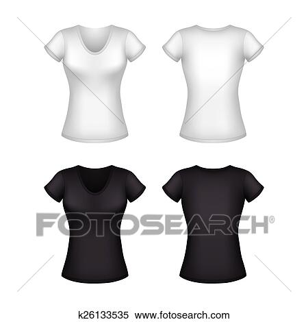 Clipart Of White Woman S T Shirt Template Isolated Vector K26133535