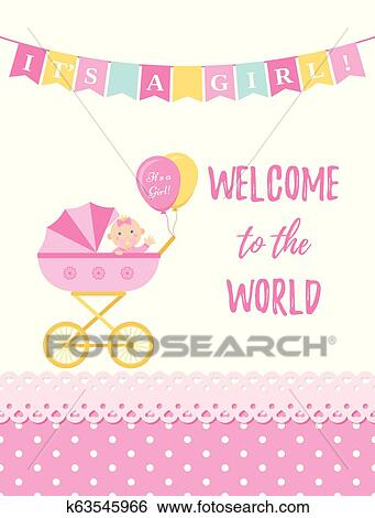 Baby Shower Card Design Vector Illustration Birthday Party Background Clip Art K63545966 Fotosearch