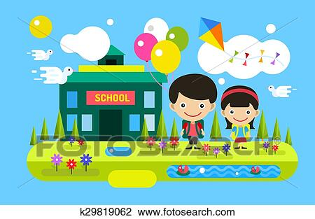 Back To School Background Cute Cartoon Boy And Girl Clipart K29819062 Fotosearch