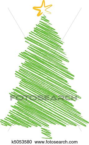Christmas Tree Scribble Drawing Clipart