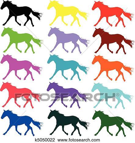 Couleur cheval vecteur silhouettes clipart k5050022 fotosearch - Cheval dessin couleur ...