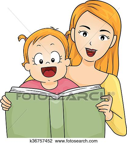 clipart of family mother read story book baby girl k36757452 rh fotosearch com Community Reading Night Clip Art Hoot Owl Clip Art Reading